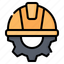 engineer, engineering, civil, gear, helmet, labour day, labor day icon