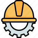 civil, engineering, construction, equipment, safety, helmet, labour day icon
