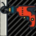drill, hammer, drilling, machine, tools, utensils, wood