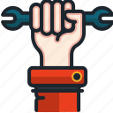 wrench, labour, day, worker, construction, hand, gesture
