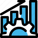chart, database, gear, optimization, performance, productive, system icon