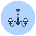chandelier, interior, lamp, light icon