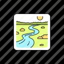 landscape, meadow, river