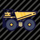 filled, outline, transportation, transport, truck, mining, vehicle icon
