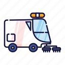 car, filled, outline, sanitation, sweeper, urban, vehicle icon