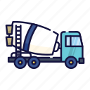 construction, truck, outline, filled, concrete, work, vehicle icon