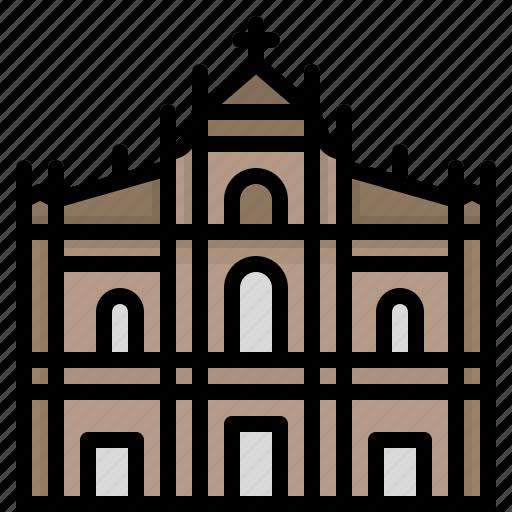cathedral, church, macau, paul, saint icon