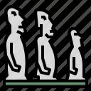 chile, island, moai, moais, statue icon