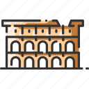 arena, coliseum, colosseum, gladiator, landmark, rome, stadium icon
