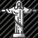 brazil, christ, christianity, jesus, landmark, rio, travel icon