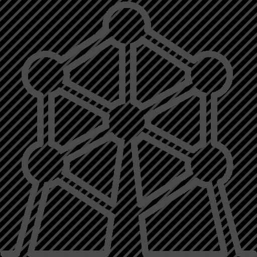atom, atomium, belgium, brussels, landmark, tower, travel icon