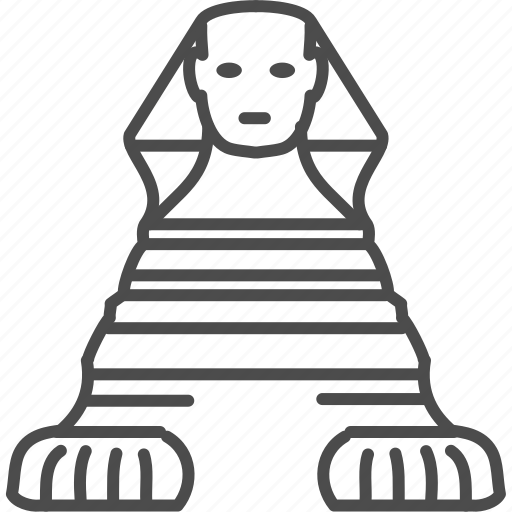 cairo, egypt, landmark, pharaon, sphynx, statue, travel icon