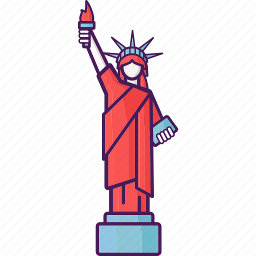 landmark, liberty, new york, statue, united states icon