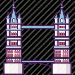 bridge, history, landmark, london, tower bridge icon
