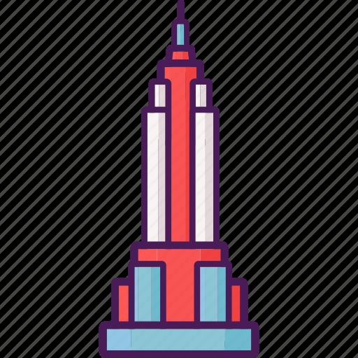 building, empire state, new york, skyscrapper icon