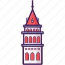 galata, historical, landmark, tower, turkey icon