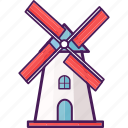 landmark, netherland, structure, tourist, windmill icon