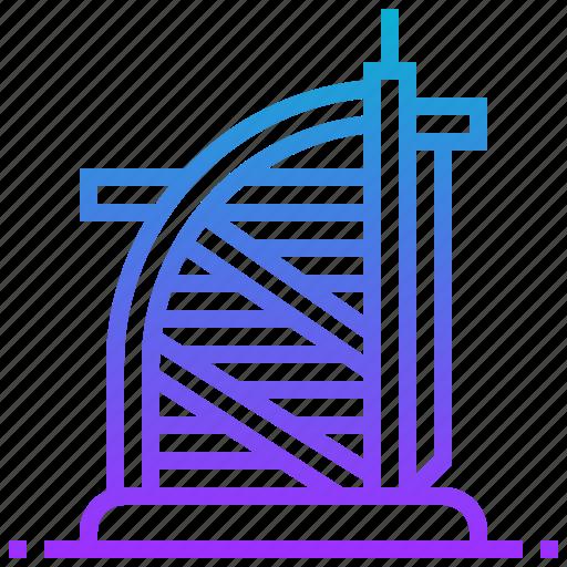 arabs, building, burj, landmark, tower icon