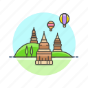 architecture, bagan, balloon, famous, landmark, monument, myanmar icon
