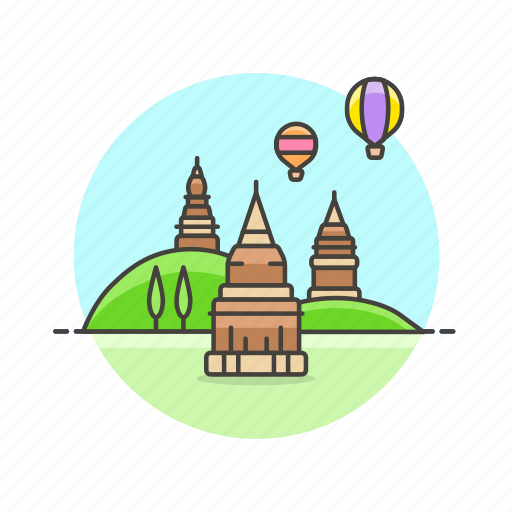 architecture, bagan, balloon, famous, landmark, monument, myanmar icon
