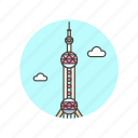 architecture, china, famous, landmark, monument, oriental, pearl, tower icon