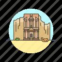 architecture, famous, jordan, landmark, monastery, monument, petra icon