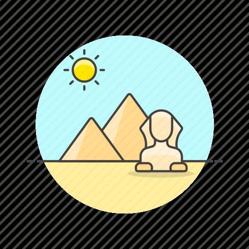 architecture, cairo, egypt, famous, landmark, monument, pyramid, sphinx icon
