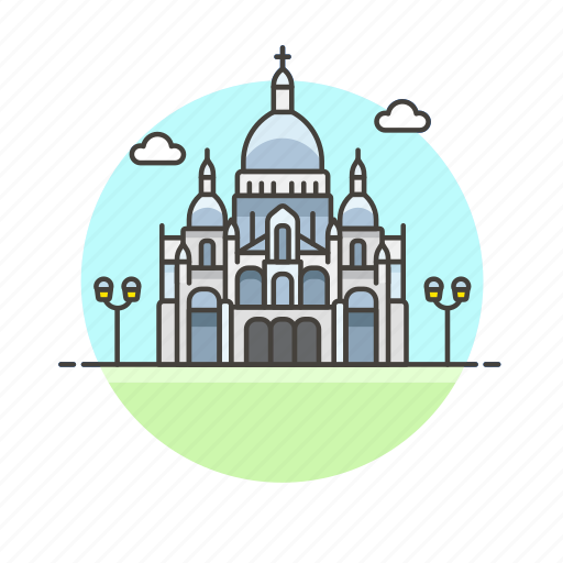 architecture, coeur, famous, france, landmark, monument, paris, sacre icon