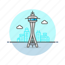 landmarks, needle, seattle, space icon