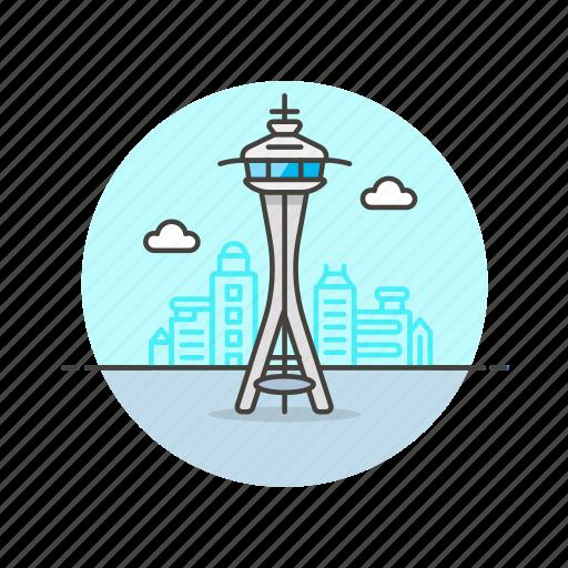 architecture, famous, landmark, monument, needle, seattle, space, us icon