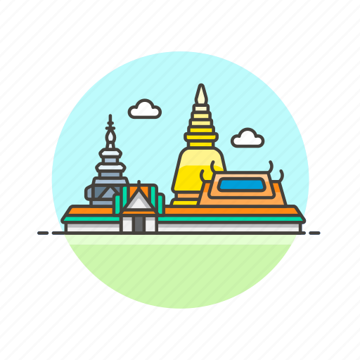 architecture, famous, kaew, landmark, monument, phra, thailand, wat icon