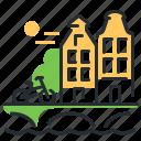 amsterdam, houses, landmark, nethelands icon