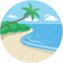 beach, beach sand, ocean, sea, seaside icon