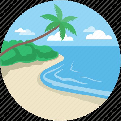 beach, beach sand, ocean, sea, seaside icon