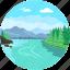 environment, landforms, river, terrain, valley icon