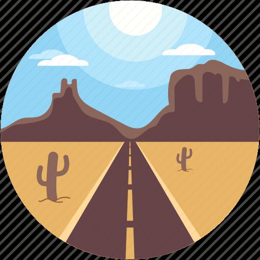 cactus, cityscape, desert, desert cactus, road landscape icon