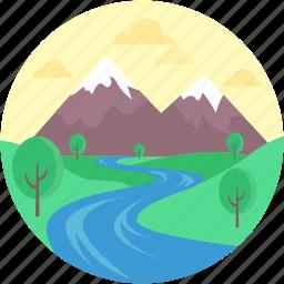 environment, gardening, landforms, road, valley icon