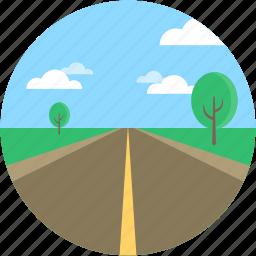 cityscape, desert, landforms, road landscape, trees icon
