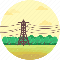 electricity pole, electricity pylon, power mast, transmission pole, utility pylon icon