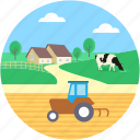 farmhouse, farming, pasture, rural, village icon