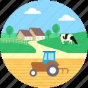 farmhouse, farming, pasture, rural, village