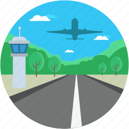 airplane, airplane road, highway, highway strip, road runway icon