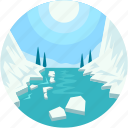 glacier, ice calving, ice mountain, polar regions, sublimation icon