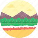 image, landscape, moutain, nature, pine trees icon