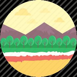 image, landscape, moutain, nature, pine trees icon