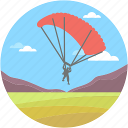 air balloon, atmosphere, chute, parachute, skydiving icon
