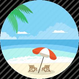 beach, beach sand, landform, ocean, sea icon