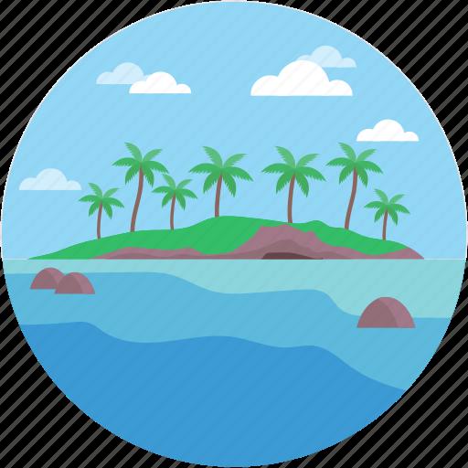 landforms, ocean, river, terrain, valley icon