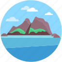 island, landscape, nature, summer, sunny icon