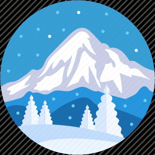 landscape, mountain, snow, snow mountain, summit mountain icon